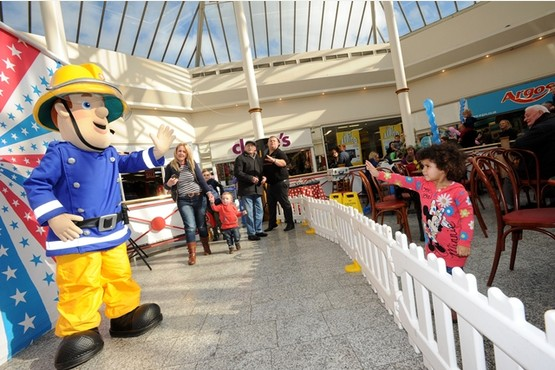 TV favourite Fireman Sam meets youngsters at Ankerside Shopping Centre, Tamworth, today  (Feb 20)
